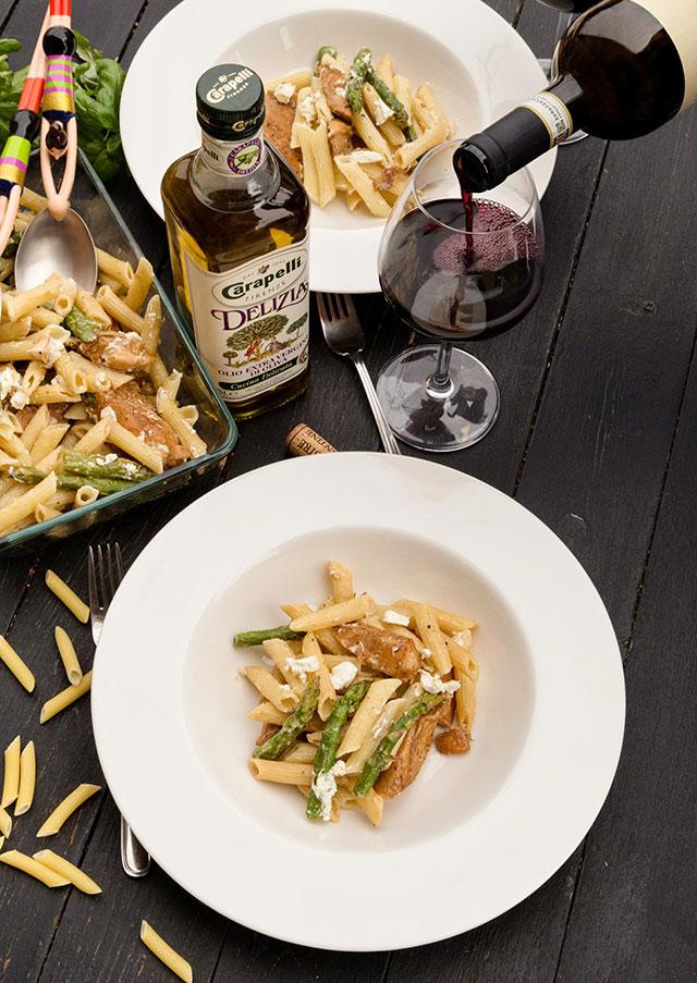 paste-cu-pui,-asparagus-si-branza-de-capra-B